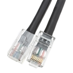 WholesaleCables.com 10X8-12201 1ft Cat6 Black Ethernet Patch Cable Bootless