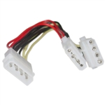 WholesaleCables.com 11W3-01208 8inch 4 Pin Molex Power Y Cable 5.25 inch Male to Dual 5.25 inch Female