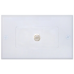 200-253WH White Decora Wall Plate with F-pin Coupler F-pin Female