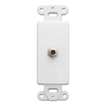 301-1000 Decora Wall Plate Insert White F-pin Coaxial Coupler F-pin Female