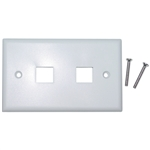 WholesaleCables.com 301-2K-W Keystone Wall Plate White 2 Hole Single Gang