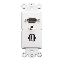 WholesaleCables.com 301-3001 Decora Wall Plate Insert White VGA Coupler; 3.5mm Stereo Jack and  USB Type A Coupler HD15 Female; 3.5mm Female and USB Type A Female