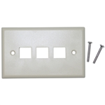 WholesaleCables.com 301-3K Keystone Wall Plate Beige 3 Hole Single Gang