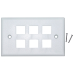 WholesaleCables.com 301-6K-W Keystone Wall Plate White 6 Hole Single Gang