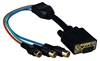 WholesaleCables.com 30H1-50200BK 1ft Black VGA to Component Video Adapter  HD15 Male to 3 x RCA Female (RGB)
