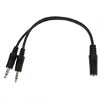 WholesaleCables.com 30S1-35260 6inch 3.5mm Stereo Y Cable 3.5mm Stereo Female to Dual 3.5mm Stereo Male