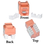 WholesaleCables.com 310-120OR Cat5e Keystone Jack Orange RJ45 Female to 110 Punch Down