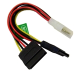 WholesaleCables.com 31SA-002P 6inch Molex to SATA Power Y Cable 4 Pin Molex Male to Dual Serial ATA Female