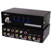 WholesaleCables.com 40R4-13400 Audio/Video RCA Selector Switch 4 way Output 3 RCA Composite Video and Audio Female Input 4 Sets of 3 RCA Composite Video and Audio Female
