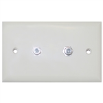 ASF-20252 TV Wall Plate with 2 F-pin Couplers Ivory