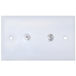 ASF-20252WH TV Wall Plate with 2 F-pin Couplers White