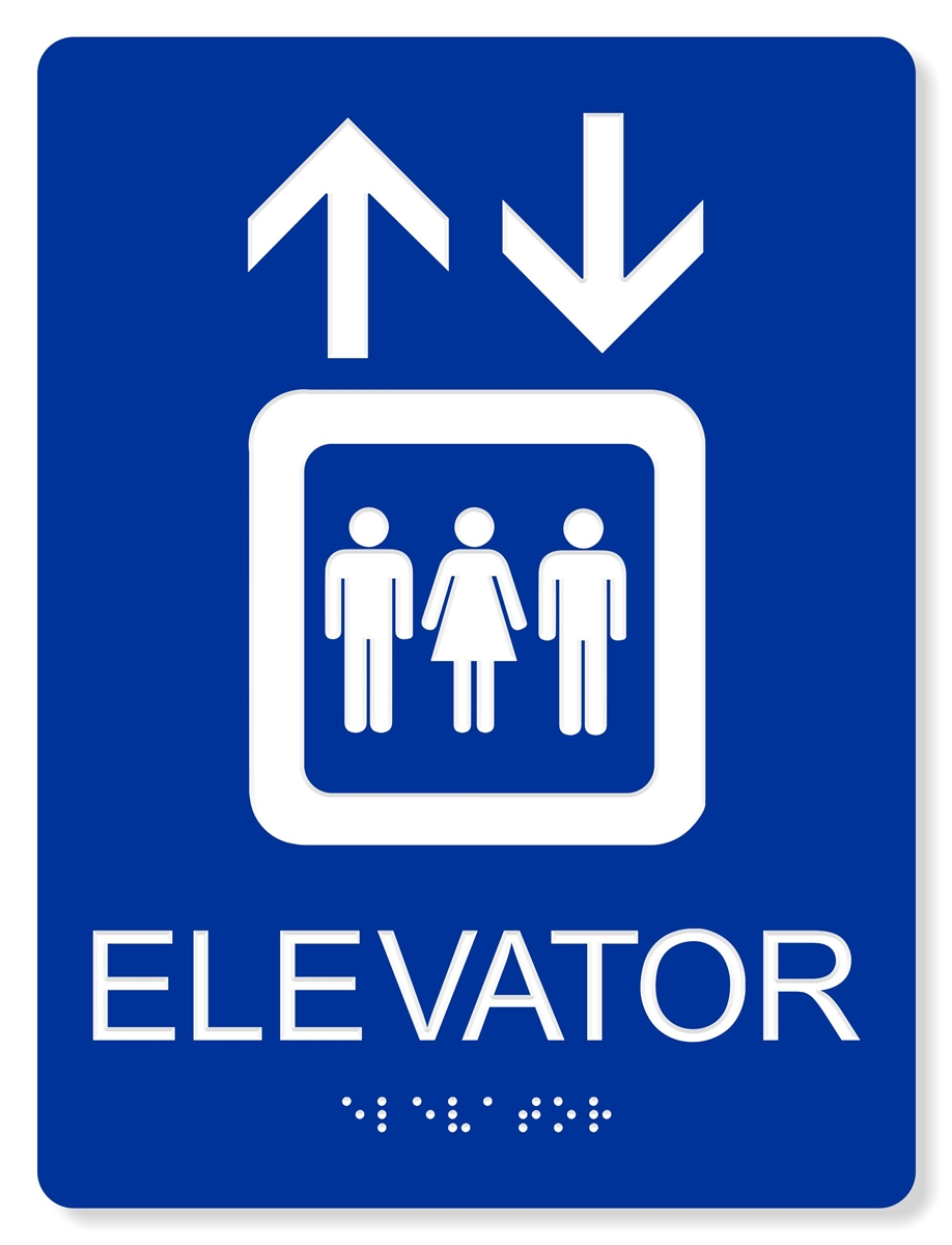 ada elevator sign 4 colors available