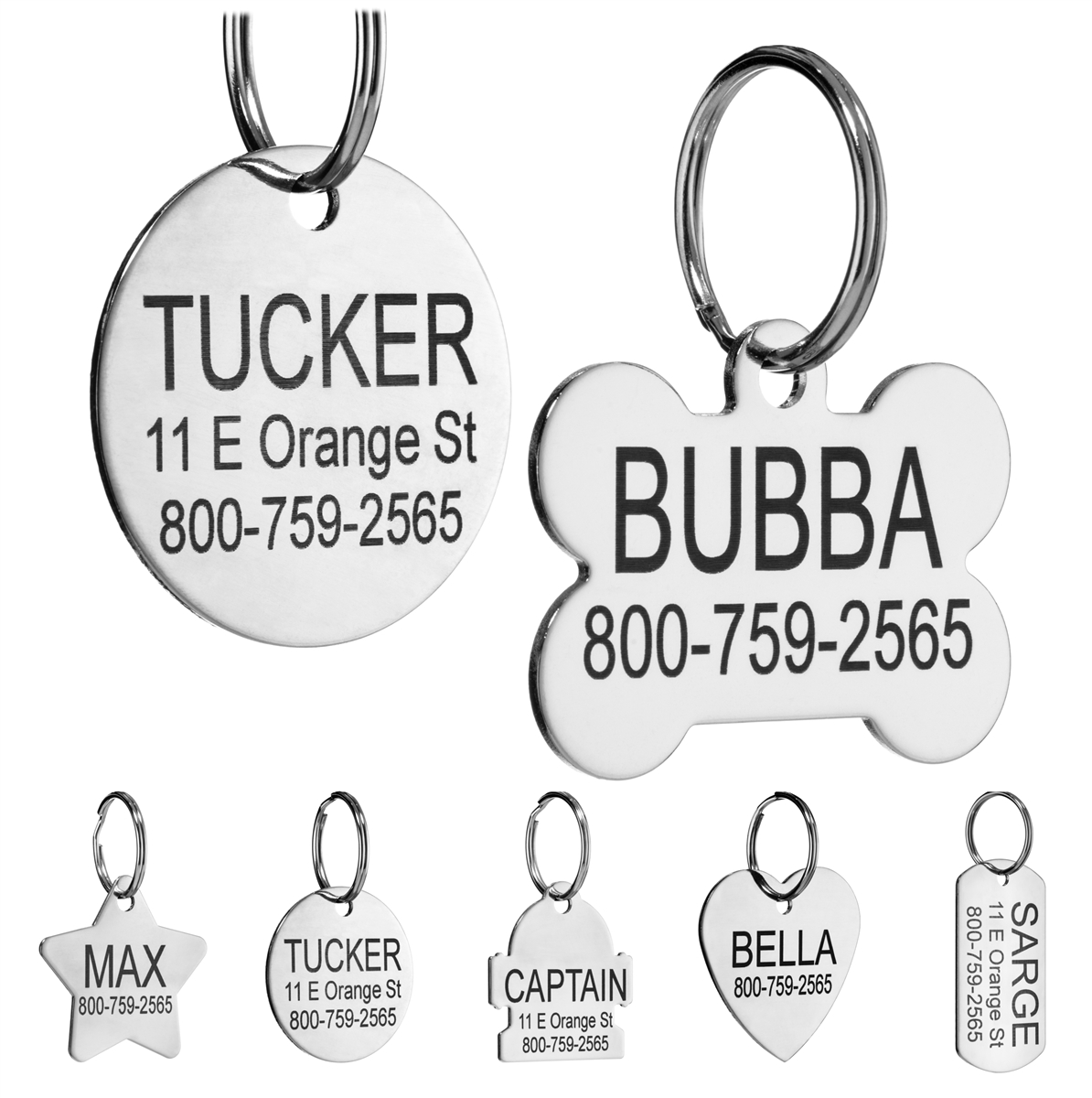 91e100f62ed3 Stainless Steel Pet ID Tags Personalized for Dogs and Cats