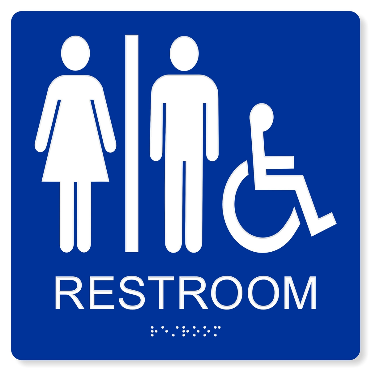 Ada accessible unisex restroom sign 4 colors available for Unisex handicap bathroom sign