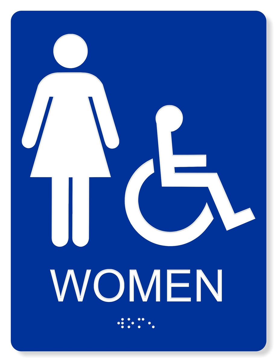 Ada accessible women 39 s restroom sign 4 colors available for Bathroom photos of ladies