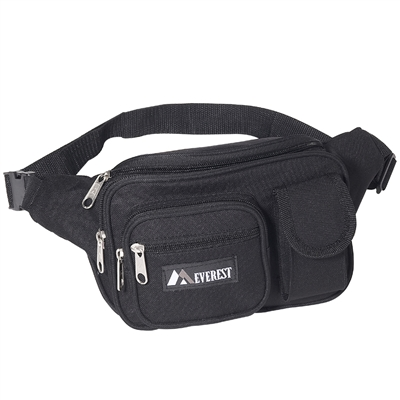 #044MDH-BLACK Wholesale Multiple Pocket Waist Pack - Case of 50 Waist Packs