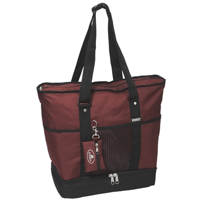 #1002DLX-BURGUNDY Wholesale Deluxe Sporting Tote Bag - Case of 30 Tote Bags