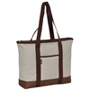 #1002DS-BEIGE/BROWN Wholesale Shopping Tote - Case of 40