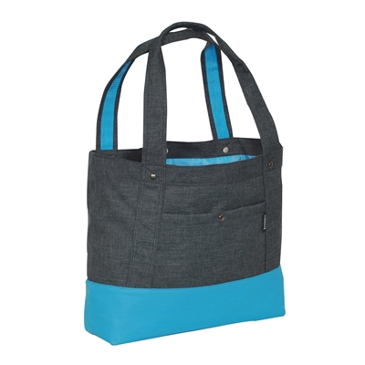 #1002TB-CHARCOAL/BLUE Wholesale Stylish Tablet Tote Bag - Case of 30