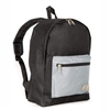 #1045CB-BLACK GRAY Wholesale Basic Color Block Backpack - Case of 30