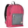 #1045CB-BURGUNDY/CHARCOAL Wholesale Basic Color Block Backpack - Case of 30