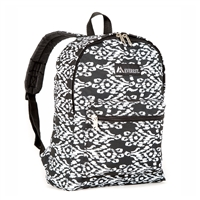 #1045KP-BLACK/WHITE IKAT Wholesale Basic Pattern Backpack - Case of 30 Backpacks