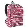 #1045KP-BURGUNDY/WHITE ETHNIC Wholesale Basic Pattern Backpack - Case of 30 Backpacks