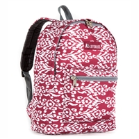 #1045KP-BURGUNDY/WHITE IKAT Wholesale Basic Pattern Backpack - Case of 30 Backpacks