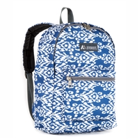 #1045KP-NAVY/WHITE IKAT Wholesale Basic Pattern Backpack - Case of 30
