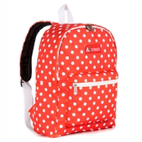 #1045KP-TANGERINE/WHITE DOT Wholesale Basic Pattern Backpack - Case of 30 Backpacks