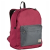 #2045CB-BURGUNDY/CHARCOAL Wholesale Classic Color Block Backpack - Case of 30 Backpacks