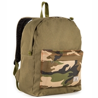 #2045CB-OLIVE/CAMO Wholesale Classic Color Block Backpack - Case of 30 Backpacks