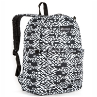 #2045P-BLACK/WHITE IKAT Wholesale Classic Pattern Backpack - Case of 30 Backpacks