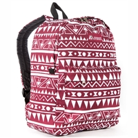 #2045P-BURGUNDY/WHITE ETHNIC Wholesale Classic Pattern Backpack - Case of 30 Backpacks