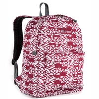 #2045P-BURGUNDY/WHITE IKAT Wholesale Classic Pattern Backpack - Case of 30 Backpacks