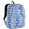 #2045P-NAVY/WHITE IKAT Wholesale Classic Pattern Backpack - Case of 30 Backpacks