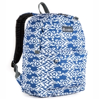 #2045P-NAVY/WHITE IKAT Wholesale Classic Pattern Backpack - Case of 30