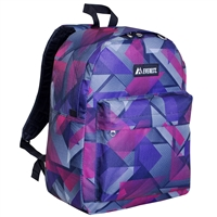 #2045P-PURPLE/PINK GEO Wholesale Classic Pattern Backpack - Case of 30 Backpacks