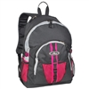 #3045W-HOT PINK/GRAY/BLACK Wholesale Large Storage Backpack - Case of 30
