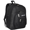 #5045-BLACK Wholesale Double Main Compartment Backpack - Case of 30 Backpacks