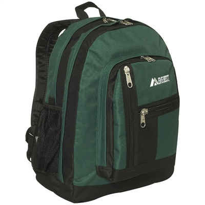 #5045-DARK GREEN Wholesale Double Main Compartment Backpack - Case of 30
