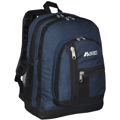 #5045-NAVY Wholesale Double Main Compartment Backpack - Case of 30 Backpacks