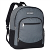 #6045-DARK GRAY Wholesale Backpack with Side Mesh Pocket - Case of 30 Backpacks