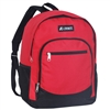 #6045-RED Wholesale Backpack with Side Mesh Pocket - Case of 30 Backpacks