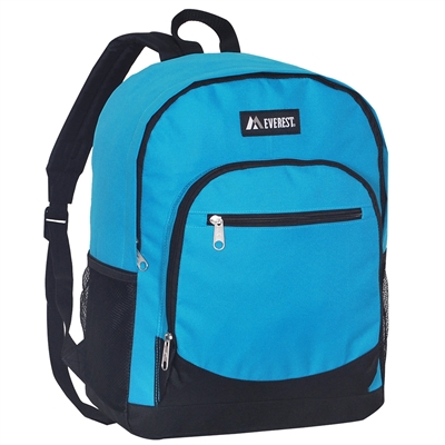 #6045-TURQUOISE Wholesale Backpack with Side Mesh Pocket - Case of 30 Backpacks