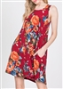 PLUS SIZE - D2917CLAA FLORAL DRESS WITH SIDE POCKETS 2-2-2