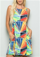 SD1005-33 MULTI COLOR DRESS WITH SIDE POCKET 2-2-2