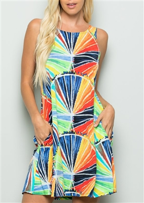 PLUS SIZE - SD1005-33 MULTI COLOR DRESS WITH SIDE POCKET 2-2-2