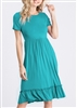 PLUS SIZE - SD1036S SOLID RUFFLE DRESS 2-2-2