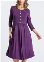 SD1042S SOLID DRESS WITH BUTTON AND SIDE POCKET 2-2-2